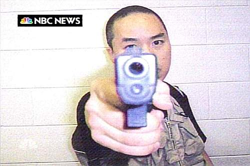 An image that NBC News say they received from Cho Seung-Hui, the shooter in the Virginia Tech shootings, is seen as it is aired on the NBC Nightly News